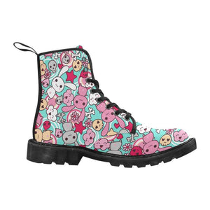 interestprint Boots Kawaii Pastel Goth Bunny Blue Boot Women's Lace Up Canvas Boots (Model1203H)(Black)