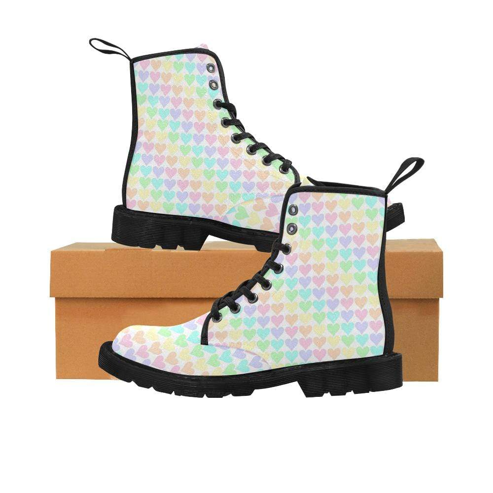 interestprint Boots The Kawaii Pastel Hearts Black Martin Boot