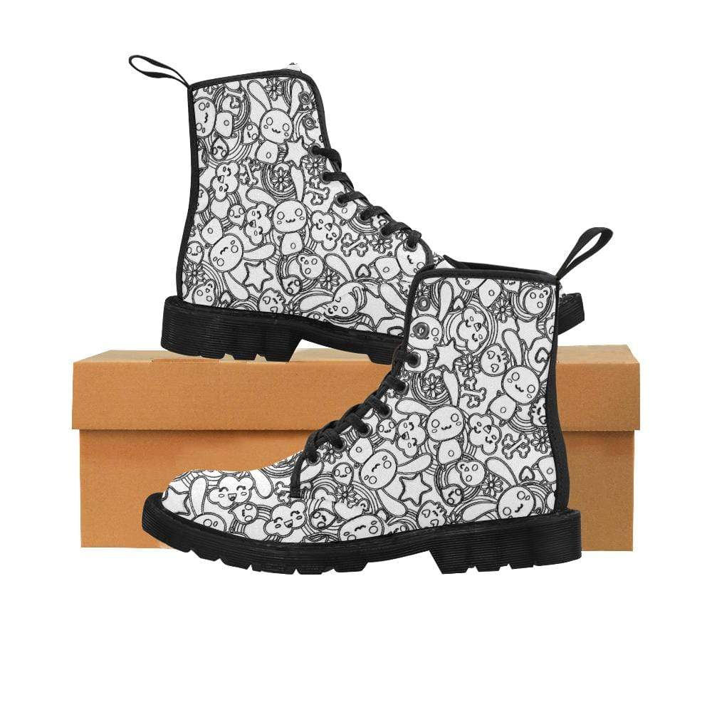 interestprint Boots The Black & White Goth Bunny Black Martin Boot