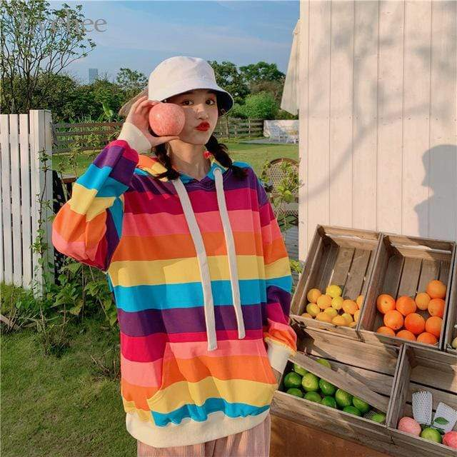 So Kawaii Shop Bright Stripes / M The Kawaii Harajuku Rainbow Stripe Pullover Hoodie 29624289-dark-color-m