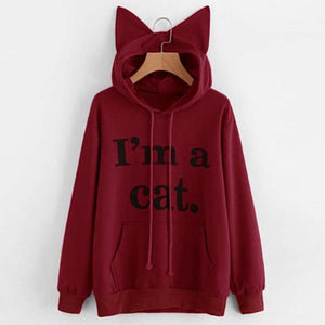 So Kawaii Shop Burgundy / XXL Harajuku Kawaii I Am a Cat Hoodie 19154121-burgundy-xxl