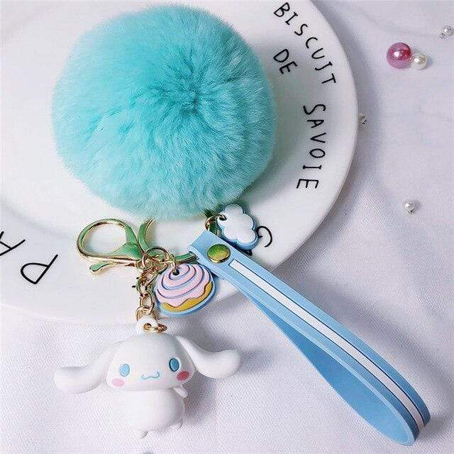 So Kawaii Shop Cinnamoroll Blue Pom Kawaii Sanrio Pom Pom Charmy Keychain 30755825-zz-15