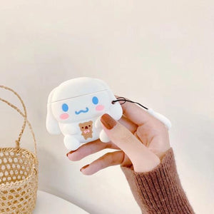 So Kawaii Shop Cinnamoroll Holding Bear w Ring For AirPods Case Cute Cinnamoroll Melody Kuromi Purin Frog Earphone Cases For Apple Airpods Protect Cover with Cartoon Pendant 26675363-d-cinnamo