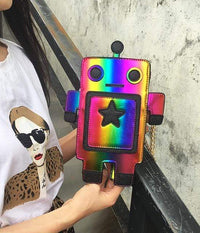 So Kawaii Shop Rainbow Kawaii Robot Laser Cut Leather Mini Chain Purse 22741327-colorful