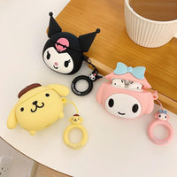So Kawaii Shop For AirPods Case Cute Cinnamoroll Melody Kuromi Purin Frog Earphone Cases For Apple Airpods Protect Cover with Cartoon Pendant