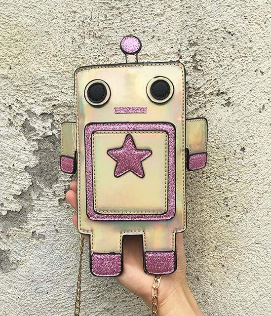 So Kawaii Shop Gold Kawaii Robot Laser Cut Leather Mini Chain Purse 22741327-gold