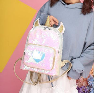 So Kawaii Shop Gold Kawaii Sequin Unicorn Heart Backpack 22789986-gold
