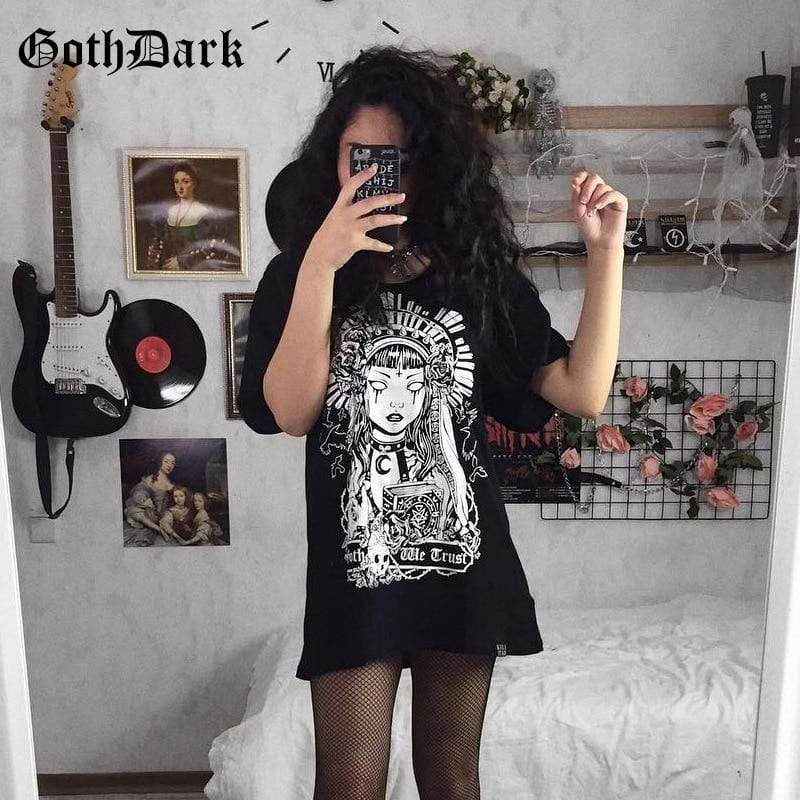 So Kawaii Shop Goth Geisha Print T-shirt