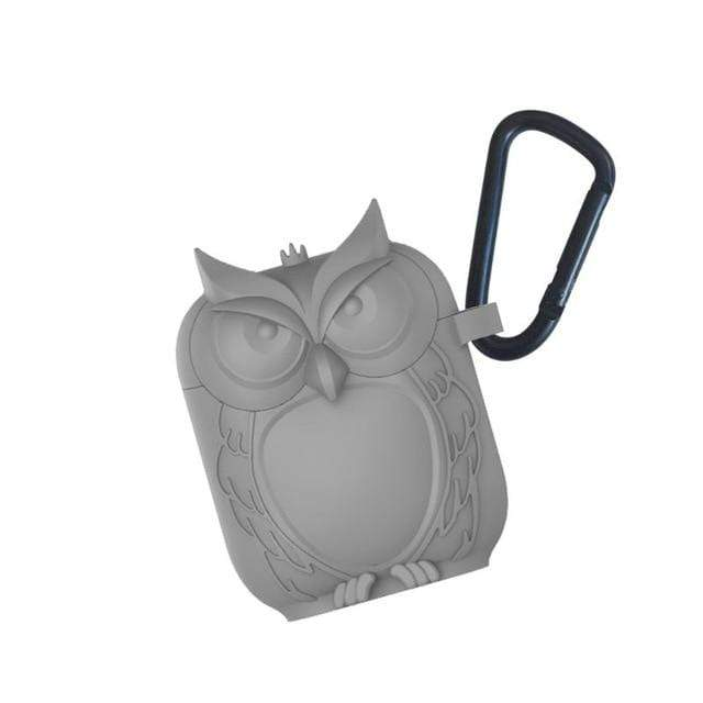 So Kawaii Shop Gray Kawaii Owl Shape Soft Silicone Shockproof Case With Carabiner For WIreless Headphones 22761653-gray