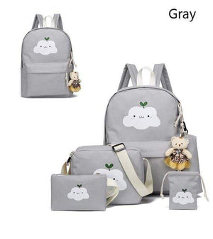 So Kawaii Shop Gray Super-Kawaii Nylon Backpack and Travel Bag Set 16048683-gray