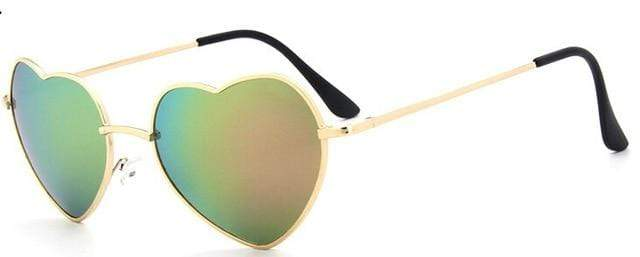 So Kawaii Shop green gold Oversized Heart Sunglasses FREE SHIPPING! 20139639-c6