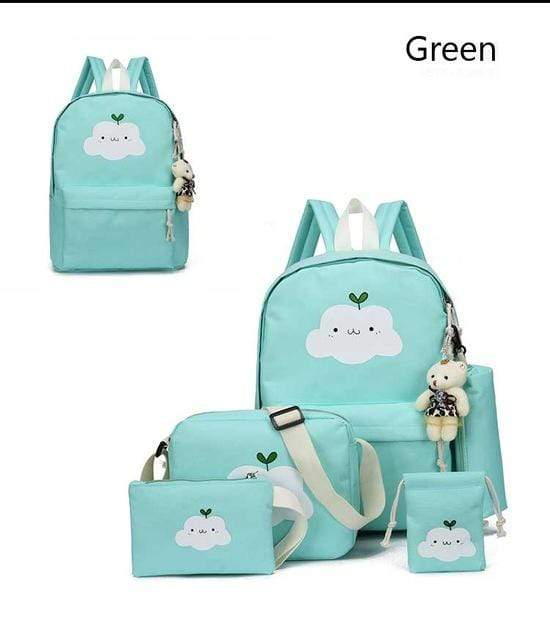 So Kawaii Shop Green Super-Kawaii Nylon Backpack and Travel Bag Set 16048683-green