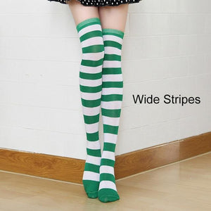 So Kawaii Shop green/white Kawaii Candy Color Striped Thigh High Stockings 17635598-a3