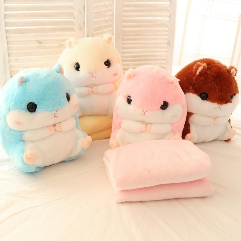 So Kawaii Shop Hamster Pillow Plush with Matching Fluffy Blanket