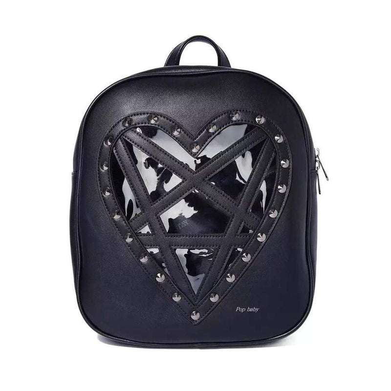 So Kawaii Shop The Kawaii Harajuku Goth Heart Backpack 22420702-black