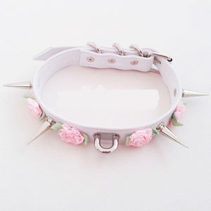 So Kawaii Shop White W Pink Flower Harajuku Kawaii Rose Spiked Choker with lead clip 3129560-white-w-pink-flower