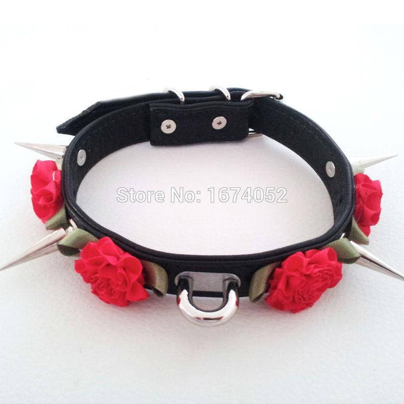 So Kawaii Shop Harajuku Kawaii Rose Spiked Choker with lead clip