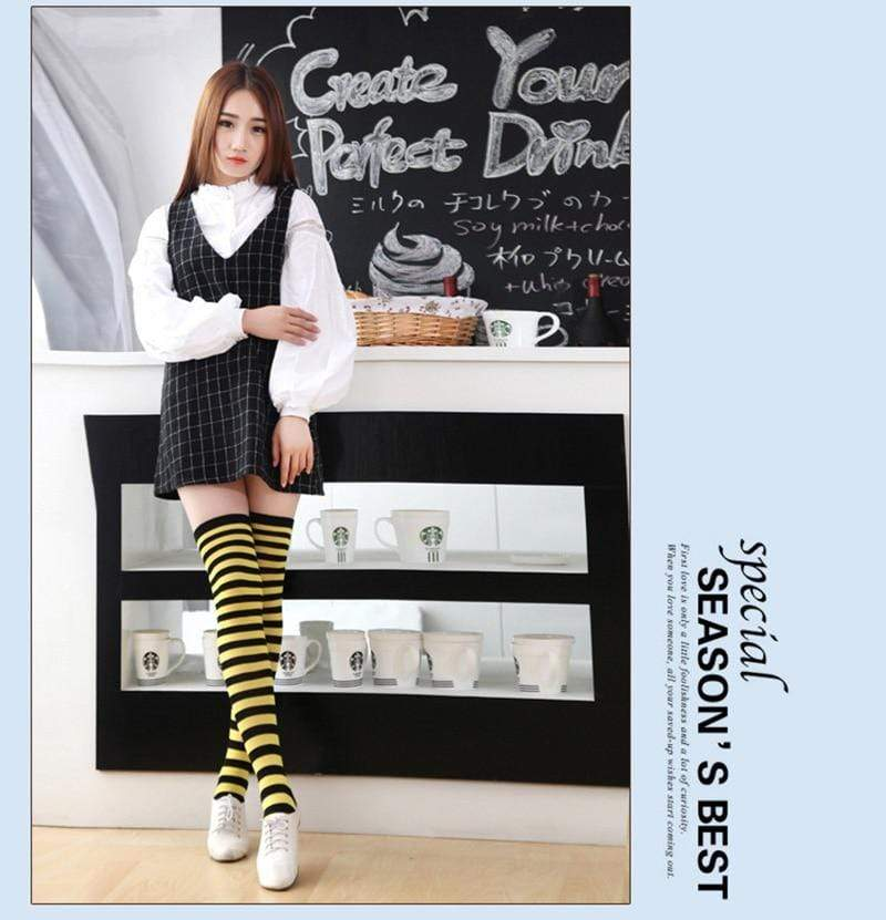 So Kawaii Shop Kawaii Candy Color Striped Thigh High Stockings
