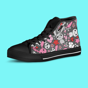 So Kawaii Shop Kawaii Goth Bunny Grey Print High Top Sneaker