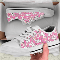 So Kawaii Shop Kawaii Goth Bunny Pink Circle Print Low Top Sneaker
