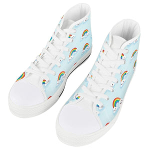 So Kawaii Shop kawaii happy rainbows white high all ambitions White High Top Canvas Shoes
