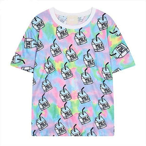 So Kawaii Shop Kawaii Harajuku Milk Carton Print T-Shirt 27608952-t2240-one-size