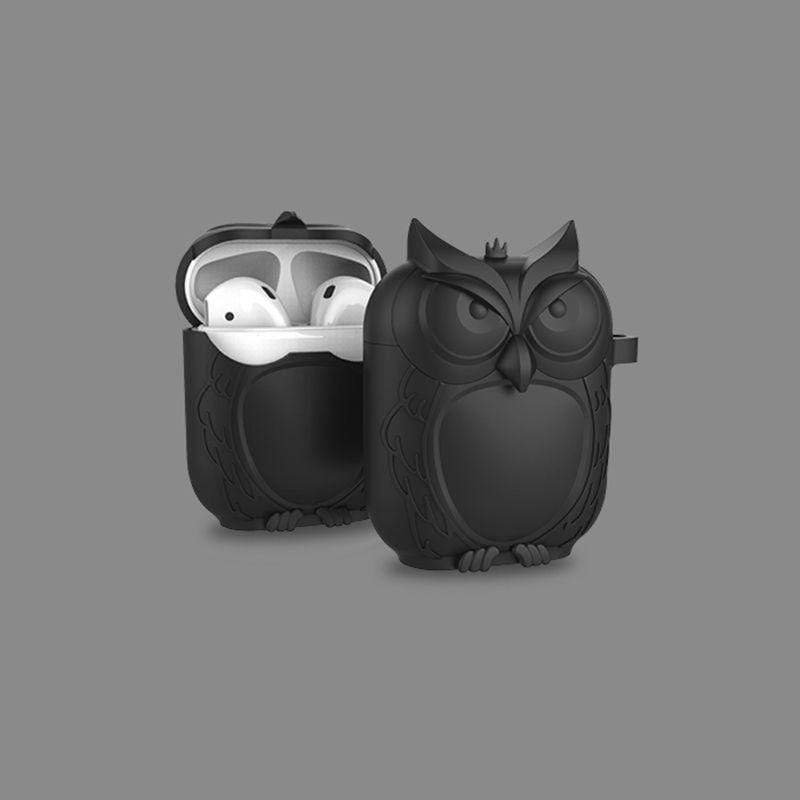 So Kawaii Shop Kawaii Owl Shape Soft Silicone Shockproof Case With Carabiner For WIreless Headphones