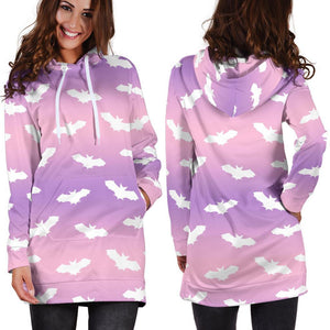 So Kawaii Shop Kawaii Pastel Goth White Bats Hoodie Dress