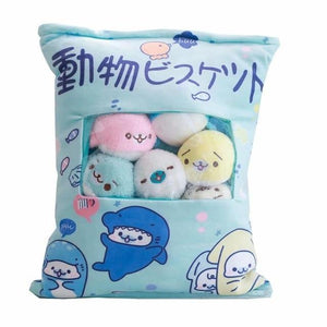 So Kawaii Shop Kawaii Pillow Bag with 8 Baby Seals 19827226-39x48cm-blue