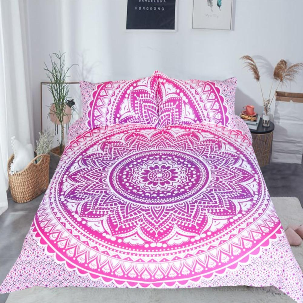 So Kawaii Shop Kawaii Pink Mandala Flower Duvet Cover Set