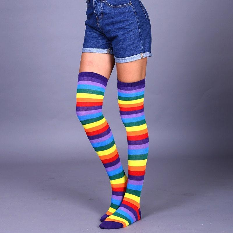So Kawaii Shop Purple rainbow / One Size Kawaii Rainbow Stripes Over The Knee Socks 22803673-purple-rainbow-one-size