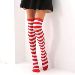 So Kawaii Shop Red and white / One Size Kawaii Rainbow Stripes Over The Knee Socks 22803673-red-and-white-one-size