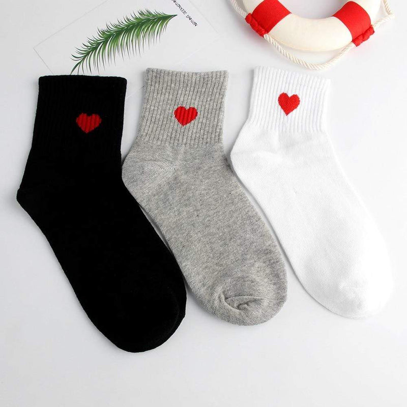 So Kawaii Shop Kawaii Red Heart Pattern Cute Ankle-High Socks