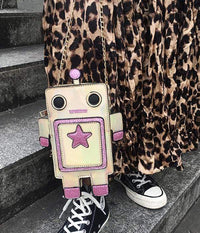 So Kawaii Shop Kawaii Robot Laser Cut Leather Mini Chain Purse