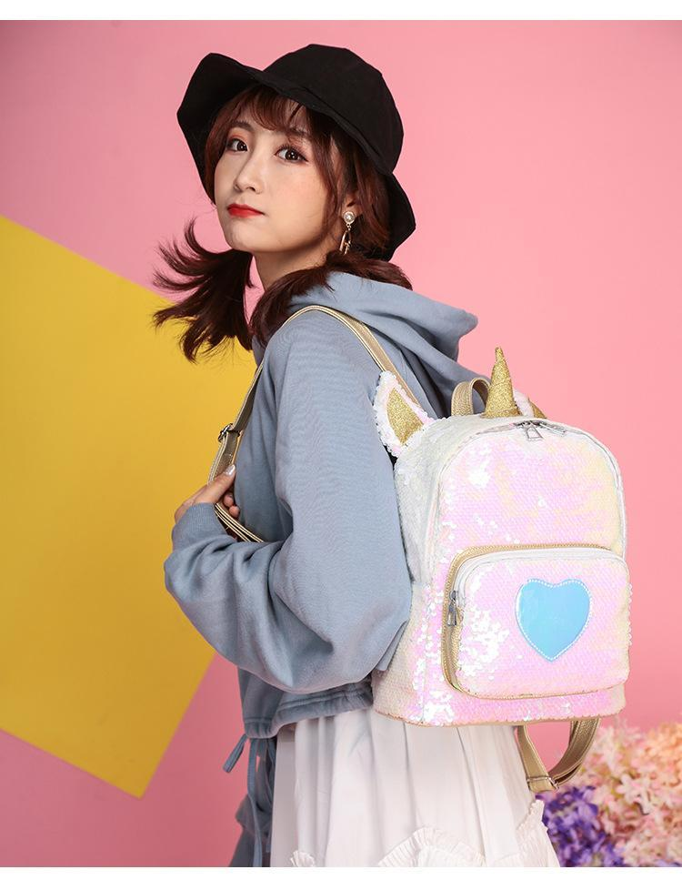 So Kawaii Shop Kawaii Sequin Unicorn Heart Backpack