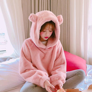 So Kawaii Shop Kawaii Soft Furry Bear Hoodie