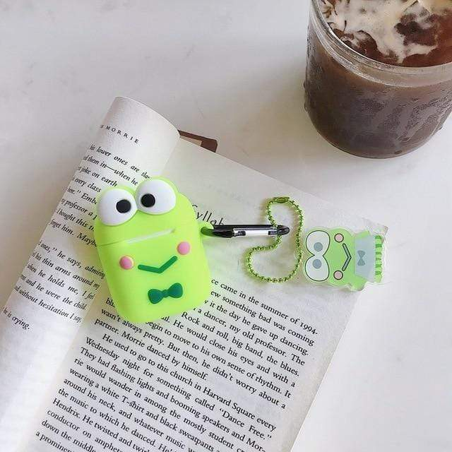 So Kawaii Shop Keroppi with Pendant For AirPods Case Cute Cinnamoroll Melody Kuromi Purin Frog Earphone Cases For Apple Airpods Protect Cover with Cartoon Pendant 26675363-frog-pendant