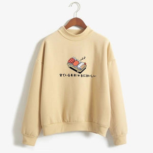 So Kawaii Shop khaki / M Kawaii Sushi Japanese Print Harajuku Sweatshirt 10603090-khaki-m