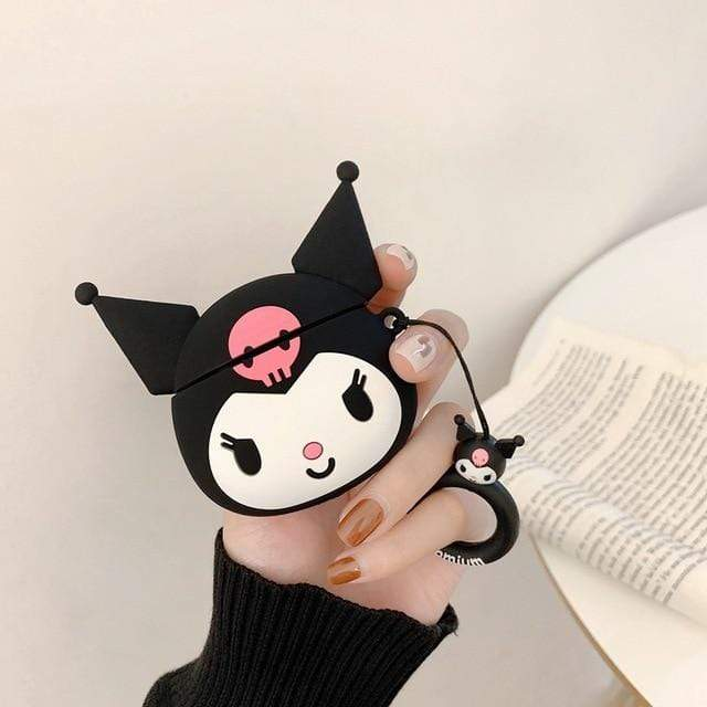 So Kawaii Shop Kuromi Big For AirPods Case Cute Cinnamoroll Melody Kuromi Purin Frog Earphone Cases For Apple Airpods Protect Cover with Cartoon Pendant 26675363-c-kuromi