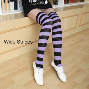 So Kawaii Shop lavender/black Kawaii Candy Color Striped Thigh High Stockings 17635598-a14