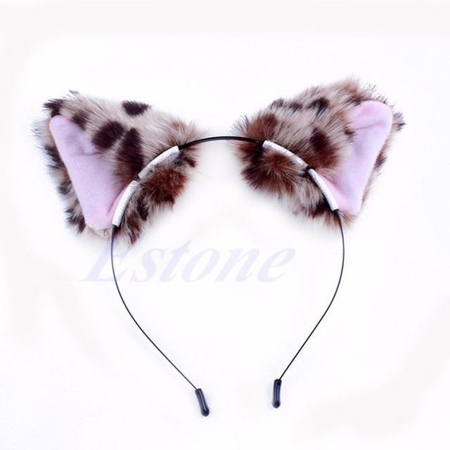 So Kawaii Shop Leopard Kawaii Cat Ears Headband 7629388-leopard