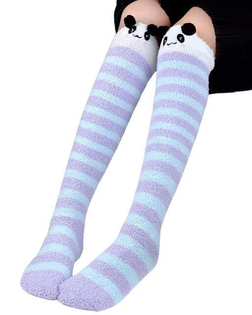 So Kawaii Shop Lilac Kawaii Japanese Animal Thigh High Socks 20070242-purple