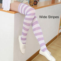 So Kawaii Shop lilacr/white Kawaii Candy Color Striped Thigh High Stockings 17635598-a12