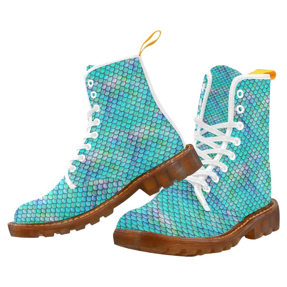 e-joyer Martin Boots for Women(1203H) Aquamarine Mermaid Scales White Martin Boots