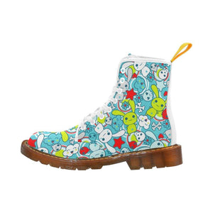 e-joyer Martin Boots for Women(1203H) The Electric Bright Kawaii Goth Bunny White Martin Boots