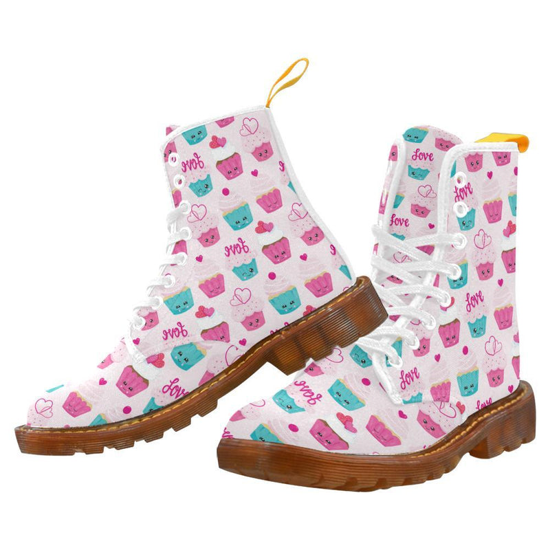 e-joyer Martin Boots for Women(1203H) The Kawaii Cupcakes White Martin Boots