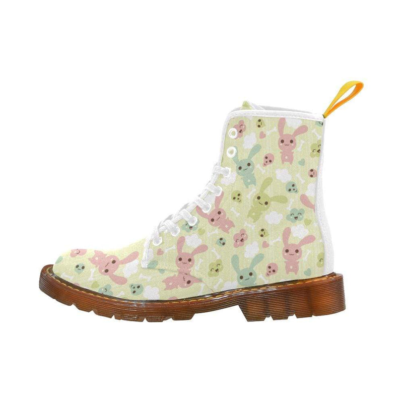 e-joyer Martin Boots for Women(1203H) The Kawaii Goth Bunny Dead Inside White Martin Boots
