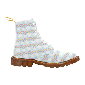 e-joyer Martin Boots for Women(1203H) Kawaii Pastel Rainbows and Clouds White Martin Boots