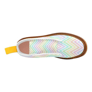 e-joyer Martin Boots for Women(1203H) The Kawaii Pastel Zig Zags White Martin Boots