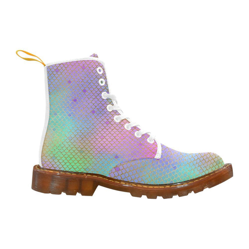 e-joyer Martin Boots for Women(1203H) The Kawaii Rainbow Mermaid White Martin Boots